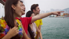 Vacation Excursion Chinese Junk Young Multi Ethnic Tourists - stock footage