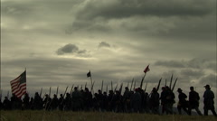 Civil War Soldiers marching to battle Stock Footage