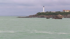 Lighthouse in Biarritz, France Stock Footage
