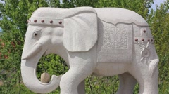 Marble statue of elephant Stock Footage