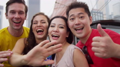 Young Multi Ethnic Couples Photo Messaging Hong Kong Harbor Stock Footage