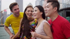 Vacation Excursion Chinese Junk Young Multi Ethnic Tourists Stock Footage