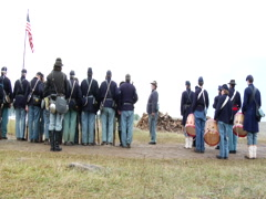 Union Soldiers standing in a line Stock Footage