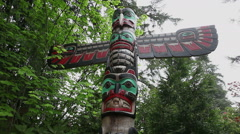 Indian totem pole - Canada Stock Footage