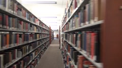Library book shelves and racks, public libraries, books Stock Footage