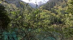 A beautiful clear blue lake at the jiuzhaigou valley national park in china d Stock Footage