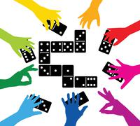 Team playing with dominoes Stock Illustration