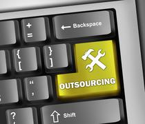 keyboard illustration outsourcing - stock illustration