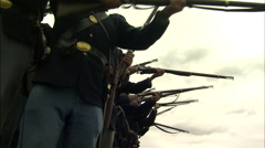 Civil War Soldiers firing guns - stock footage
