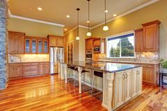 kitchen interior in luxury house - stock photo