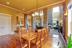 Luxury house interior. dining room Stock Photos
