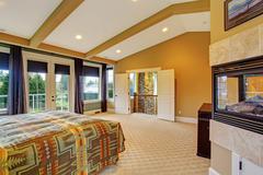 Master bedroom interior in luxury house Stock Photos