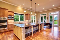 kitchen interior in luxury house - stock photo