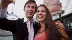 Chinese Junk Young Caucasian Couple Celebration Stock Footage