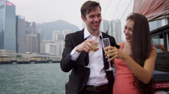 Corporate Reward Champagne Trip Hong Kong Harbour - stock footage