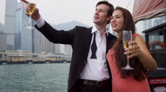 Couple Honeymoon Excursion Sailing Chartered Chinese Junk - stock footage