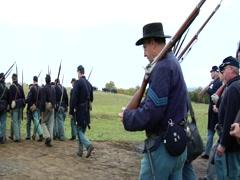 Civil War Union Soldiers walking Stock Footage