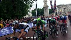 The 2014 Tour De France cycle race finish in London. Stock Footage