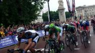 Stock Video Footage of The 2014 Tour De France cycle race finish in London.