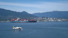 Seaplane floating before take off - Vancouver harbor Stock Footage