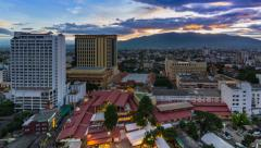 Time Lapse Day To Night Cityscape Of Chiang Mai, Thailand Stock Footage