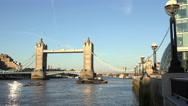 Stock Video Footage of London Tower Bridge and Queens Walk at More London Riverside