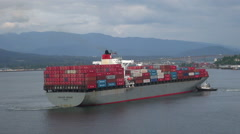 Container ship - Vancouver port Stock Footage