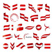 collection of vector flag of austria - stock illustration
