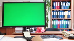 Engineer worker thinking and looking at green scree of pc, big monitor Stock Footage