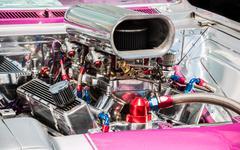 Pink Hot Rod Motor - stock photo