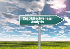 Signpost cost-effectiveness analysis Stock Illustration