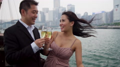 Ethnic Couple Enjoying Glass Wine Commercial Chinese Junk Stock Footage
