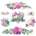 Stock Illustration of floral bouquets with peony flowers, for wedding, baby shower, cards, invitations