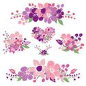 Stock Illustration of floral bouquets, for wedding, baby shower, cards, invitations