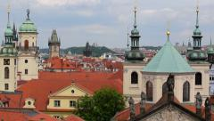 Pan over historic roofs and towers of prague 11375 Stock Footage