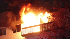 Apartment balcony involved in heavy fire Stock Footage