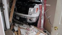 Inside view of truck vs house accident - stock footage