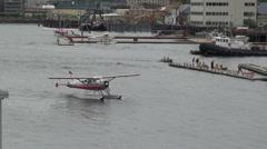 Seaplane floating at sea - Ketchikan, Alaska Stock Footage