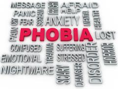 Stock Illustration of 3d phobia symbol conceptual design isolated on white. anxiety disorder concep