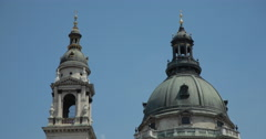 4K video of the famous dome of Saint Stephens Basilica in Budapest, Hungary Stock Footage