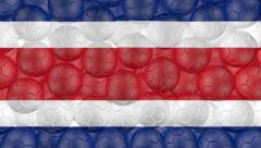 Soccer balls falling down on a white and forming a costa rican flag Stock Footage