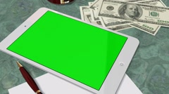 Tablet PC Pad Green Screen for Advertisement Presentation - stock footage