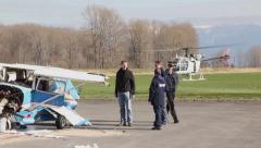 TSB inspectors investigating plane wreck Stock Footage