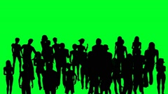 Crowd of people cheerful cheering  on green screen Stock Footage