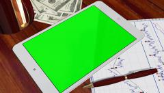 Tablet PC Pad Green Screen for Advertisement Presentation Stock Footage