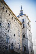 toledo alcazar fortress destroyed during the spanish civil war - stock photo