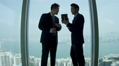 Asian Chinese Business Executives Wireless Tablet Stock Footage