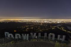 hollywood sign night editorial - stock photo