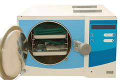 Medical autoclave for sterilising surgical and other instruments Stock Photos