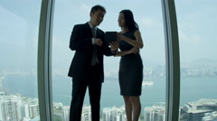 Asian Chinese Business People Skyscraper Office Handshake Stock Footage